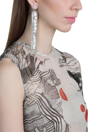 Silver Finish Tale Of Seven Kingdoms Earrings by Masaba Jewellery