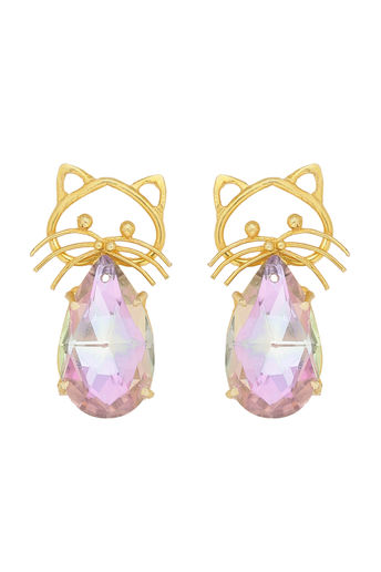 Handmade Cat Studs With Pink Glass Stone by Nitaara