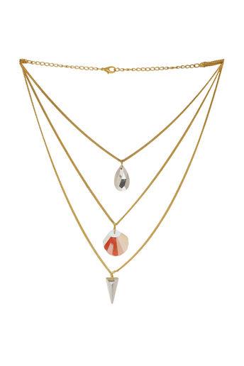 Fascinating Golden Necklace With Three Tier Design by Nitaara