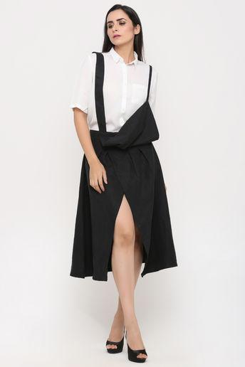 Black Asymmetric Skirt With Shoulder Straps by Pooja Verma