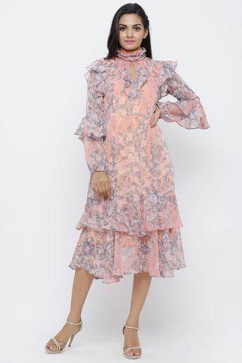 Peach Chiffon Floral Printed Midi Dress by Pooja Verma