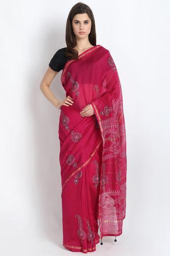 Exclusive Hand Block Printed Silk Chanderi Saree In Rani Pink  by Palash