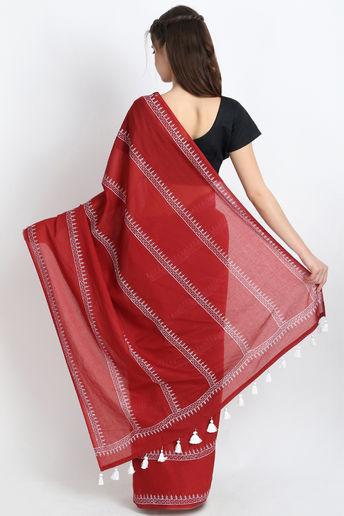 Beautiful Hand Block Printed Cotton Mulmul Saree In Maroon by Palash