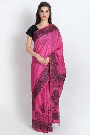 Hand Block Printed Tussar Silk Saree In Pink by Palash