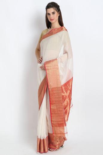 Luxury Handloom Maheshwari Silk Saree In White  by Palash