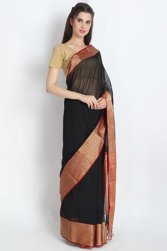 Elegant Handloom Maheshwari Silk Saree In Black  by Palash