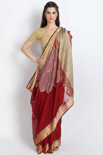 Stunning Handloom Maheshwari Silk Saree With Hand Embroidery In Maroon by Palash