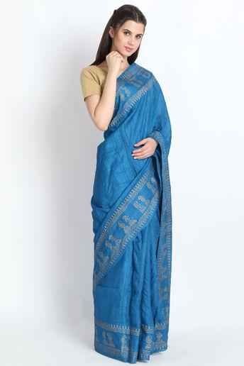 Hand Block Printed Tussar Silk Saree In Cobalt Blue by Palash