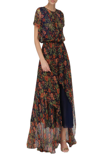 Midnight Blue High-Low Midi Dress by Pallavi Jaipur