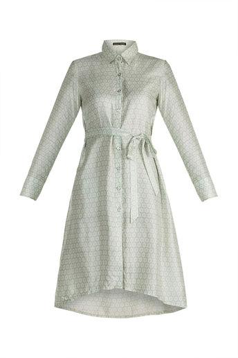 Pistachio Green Block Printed Shirt Dress by Pranay Baidya