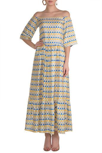 Multi Coloured Printed Off Shoulder Maxi Dress by Pranay Baidya