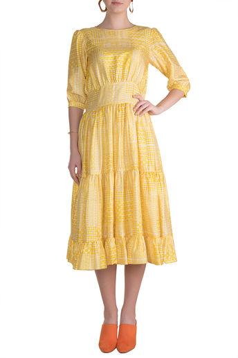 Yellow Block Printed Cocktail Midi Dress by Pranay Baidya