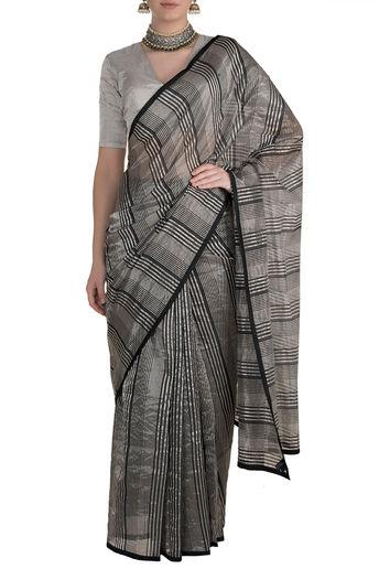 Black & Silver Striped Saree by Pranay Baidya