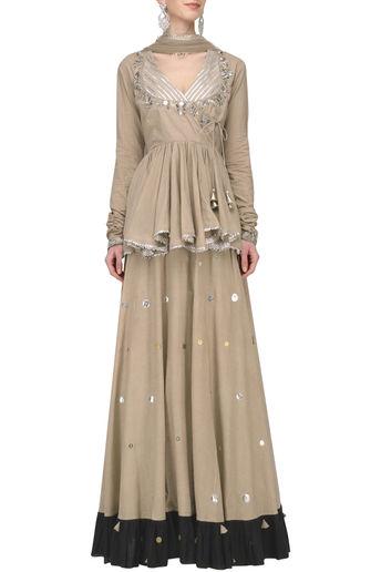 Beige Metal Sequins Embroidered Lehenga Set by Priyanka Singh-Handpicked for You