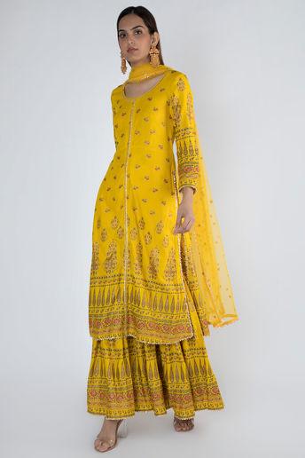 Yellow Gold Tunic Gharara Set With Dupatta by Rivaaj