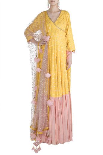 Yellow & Blush Pink Printed Angrakha Anarkali Set by Rishi & Vibhuti