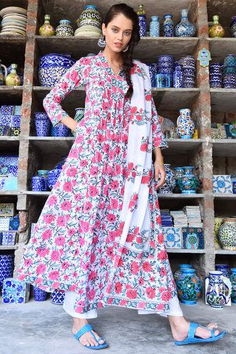 Floral Ethnic Anarkali Set with Block Print Dupatta by Rivaaj