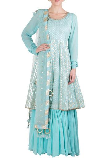 Blue Embellished Anarkali