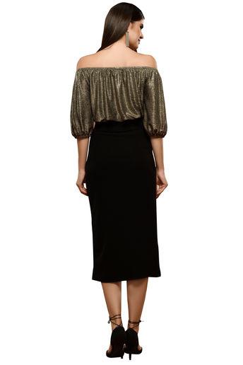 Black Metallic Off Shoulder Top With Slit Skirt by RS by Rippi Sethi
