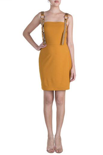 Mustard Embellished Mini Dress by RS by Rippi Sethi