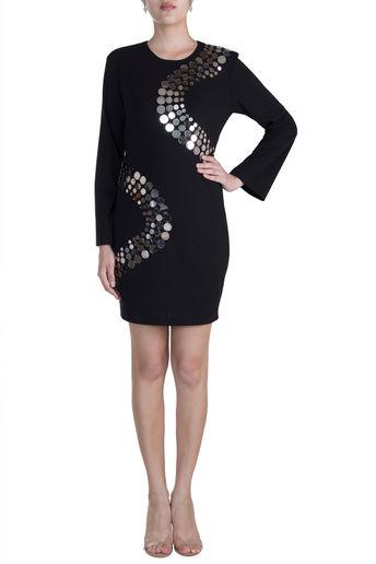 Black Embellished Shift Dress by RS by Rippi Sethi