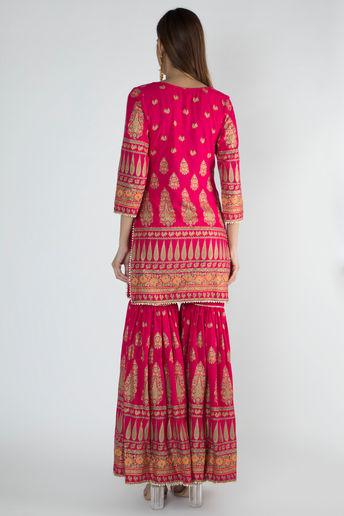 Pink Rani Gold Panel Gharara Set With Dupatta by Rivaaj