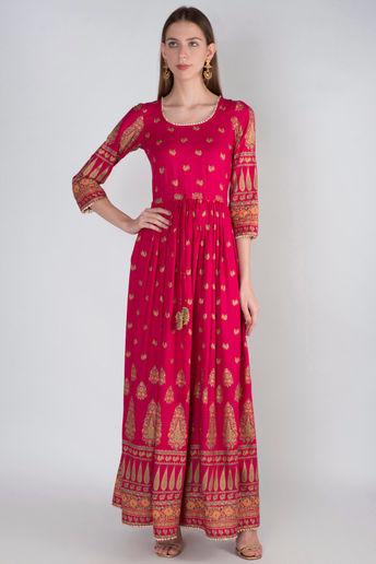 Pink Rani Gold Panel Maxi Dress by Rivaaj
