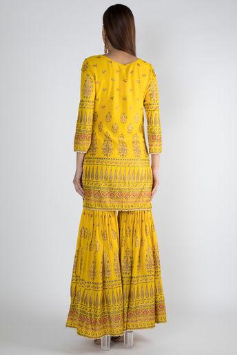 Yellow Gold Panel Gharara Set With Dupatta by Rivaaj