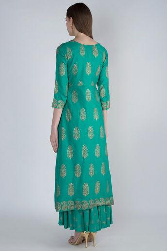 Green Golden Peplum With Skirt by Rivaaj