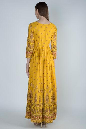 Yellow Gold Panel Maxi Dress by Rivaaj