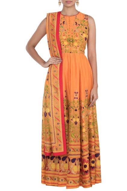 Orange Printed Anarkali Set by Surendri