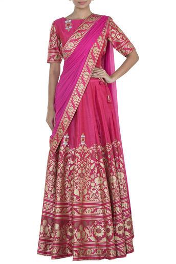 Pink Printed Lehenga Set by Surendri-Handpicked for You