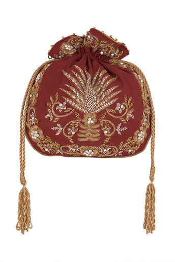 Maroon Embroidered Potli by Sonnet
