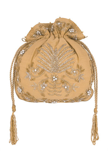 Beige Embroidered Potli by Sonnet
