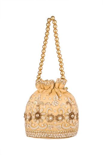 Gold Embroidered Raw Silk Potli