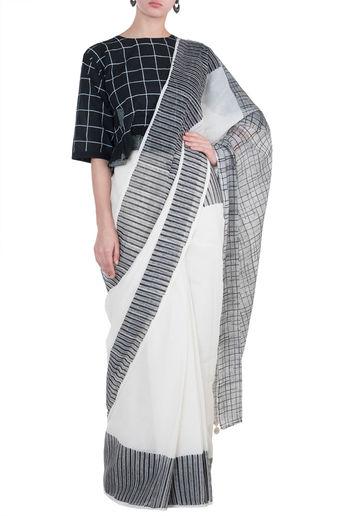 Ivory Block Printed Saree In Cotton