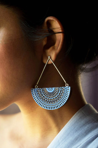 Handcrafted Natural Indigo Earrings by Satat