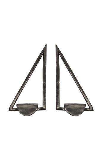 Handcrafted Brass Triangle Earrings In Black