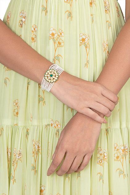 Gold Finish Faux Kundan & Pearl Bracelet by Vastraa Jewellery