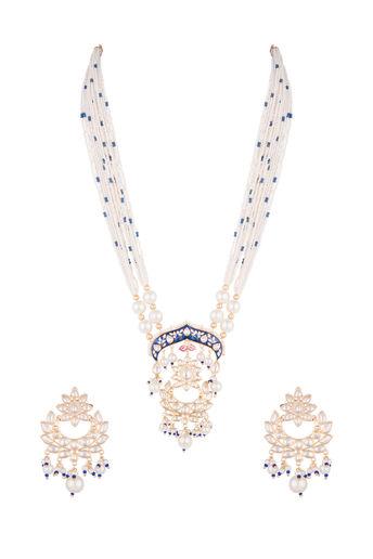 Gold Finish Faux Pearl & Kundan Enameled Mala Necklace Set by Vastraa Jewellery
