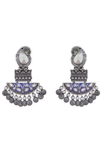 Black Rhodium Finish Blue Enamelled Earrings by Vastraa Jewellery