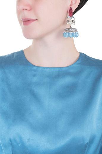 Silver plated stone jhumki earrings by Vastraa Jewellery