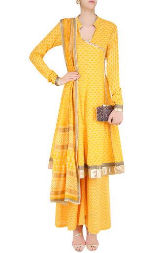 Yellow Angrakha Style Anarkali Kurta and Sharara Pants Set by Surendri-Handpicked for You