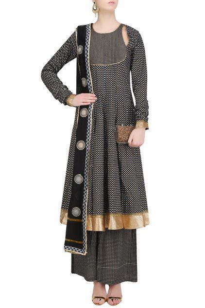 Black Printed Anarkali Kurta and Sharara Pants Set by Surendri