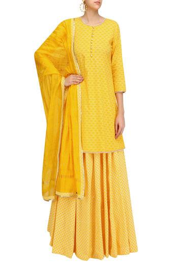 Yellow Pearl Embroidered Short Kurta and Skirt Set