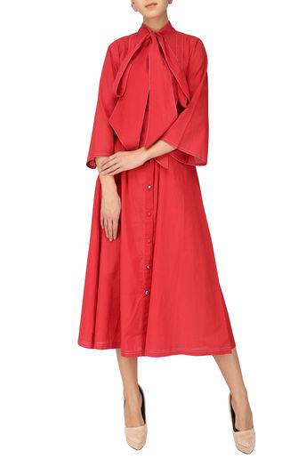 Red Tie-Up Flared Midi Dress