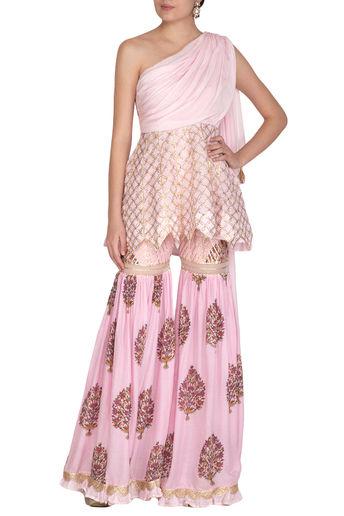 Blush Pink Printed Sharara Set by Yuvvrani Jaipur