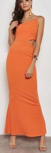 Missguided Long Orange One-Shoulder Dress