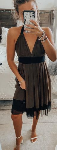 Brown And Black Halter Neck Mesh Dress