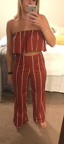 Zaful Red And White Striped Set